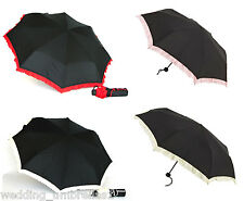 CONTRAST FRILL UPF 25 SHELTA FOLDING MINI FEATHERLITE UMBRELLA 98cm Diameter