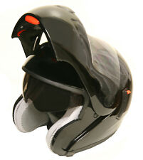 Lunatic Gloss Black Modular Helmet Flip-Up Dual Visor Sun Shield DOT Approved