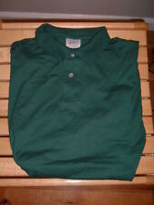 HANES MEN'S POLO SHIRTS WITH FRONT POCKET - HUNTER GREEN - SIZE S, M & L