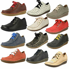 LADIES CLARKS LEATHER LACE UP CASUAL FLAT MOCCASIN STYLE SHOES SIZE FUNNY DREAM