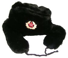 Russian Black Faux Fur Ushanka Hat  Military Badge/Different sizes available