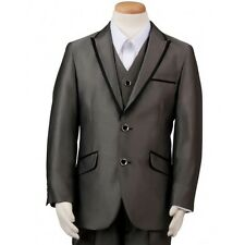 Boy's Gray Wedding Ring Bearer Suit With Satin Trim 3 Piece