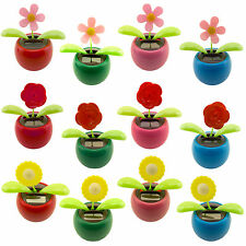 Solar Powered Dancing Flip Flap Toy Flower Bug Animal Bobble Plant Pot Swing lot