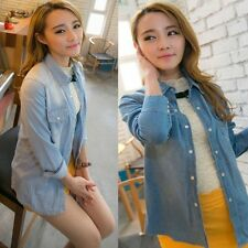 Womens Vintage Blue Jeans Denim Casual Shirt Long Sleeve Loose Blouse Tops Coat