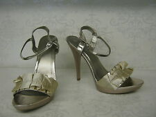Ladies SALE Spot On! F1751 Champagne Satin High Heel Occasion Sandals