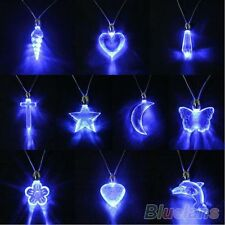 Styllish LED Blue Magnetic Light Charm Necklace Pendant Gift for Xmas Party BA5U