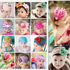 1pc Baby Girl Kids Infant  Feather Headband Hair Band Flower  Hair Band
