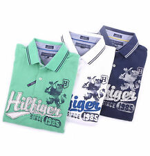 Tommy Hilfiger Men Solid Pique Mesh Rugby Logo Polo Shirt Custom Fit - $0 Ship