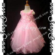 #PF01 Flower Girl/Holiday/Communions/Party/Formal Gown Dresses, Pink 3-14 Years