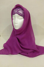 Gorgeous Ladies Square Soft Voile Scarf Shawl Hijab with Rhinestone Detail