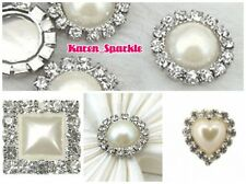 10 x Deluxe Pearl & Diamante Rhinestone Cluster Grade A ( not slider, buckle)