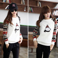 Ladys Raglan Sleeve Crewnecks Sweatshirt Geometric Pattern Tops Pullover Sweater