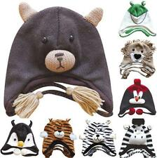 New Knit Fleece Lined Adult Animal Winter Hat Cap w/ Ear Flaps & Poms USA Seller