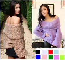 lady Inspired Chunky Fuzzy Oversized Off-Shoulder Loose Sweater jumper all color