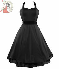 HEARTS & ROSES H&R 50's SATIN cocktail party DRESS BLACK