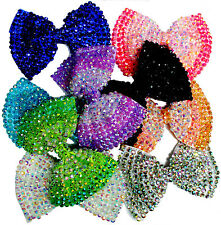 Girl Ladies Fashion Shining Brand New Diamante Crystal Bow Hair Clip Size Large