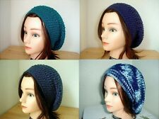 TEAL Navy Blue WINDSOR Light BLUE Handmade Crochet SLOUCHY Beret Tam HATs Knit