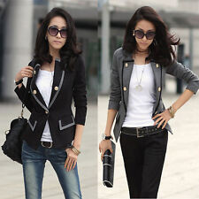 Women's Ladies One Button Blazer Slim OL Casual Suit Jacket Coat Outerwear HOT