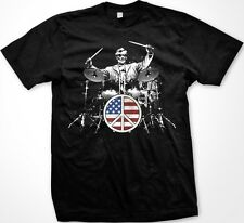 Rock and Roll 101 Abraham Lincoln Playing Drums Flag Peace Sign -Men's T-shirt