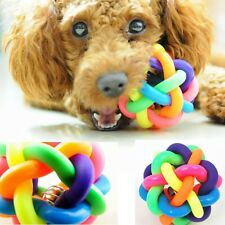 Pet Dog Cat Puppy Bell Sound Rainbow Exercise Training Playing Rubber Ball Toys