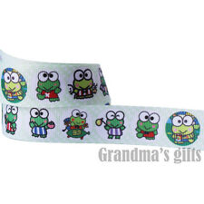 "1""25mm Smart Frog Boy/Girl Printed Grosgrain Ribbon 5/50 Yards Hairbow Wholesale"