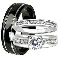 3 pc Black TITANIUM STAINLESS STEEL Mens Womens Engagement Wedding Band Ring Set
