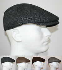 CLASSIC WOOL HERRINGBONE FLAT DRIVER IVY GOLF HATS GATSBY CAP - BROWN GRAY BLACK