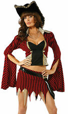 Womens Sexy Pirate Wench Captain Black Red Striped Deluxe Halloween Costume Set