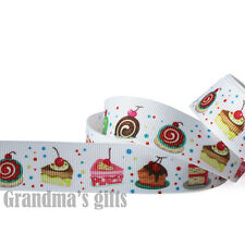 "7/8""22mm Cherry/Chocolate Cake Printed Grosgrain Ribbon 10 Yards DIY Wholesale"