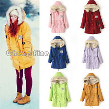 Fashion color Winter Women Fur Hooded Zipper Fleece Inside Military Casual Coat
