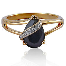 2 Carats Pear Black Onyx Gold Plated Brass Diamond Accent Wedding Ring