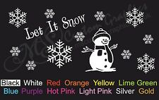 LET IT SNOW Sticker A4 Sheet, Car Decal, Windows, Christmas Snow Man Snowflakes