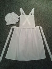 LADIES VICTORIAN EDWARDIAN TUDOR MAID WW1 APRON AND MOP CAP FANCY DRESS COSTUME