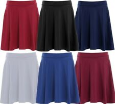 New Womens Plus Size Waist Band Flared Skater Skirts Evening Party Skirts