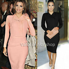 Womens Celebrity Lapel Long Sleeve Business Work Party Sheath Pencil Dress 311