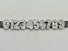 """20 Rhinestone Number Slide Charm Fit 8mm Wristbands """"0 to 9"""" Pick your Number"""