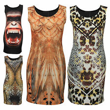 New Womens Ladies Celebrity Inspired Animal Floral Prints Mini Dresses Top 8-14