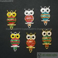 20Pcs Colorful Silver Gold Metal Owl Bracelet Connector Charm Beads Mixed Colors