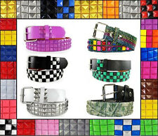 3 Row Metal Pyramid Studded Leather Belt Mens Womens Punk Goth Emo Checkered