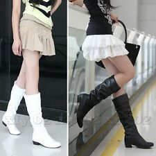 Fashion Sexy Pure Color Women Lady Leisure Low Heel Knee High Boots Shoes 3 Size