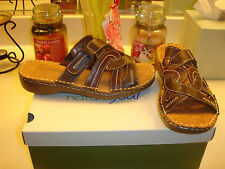 Natural Soul by Naturalizer Callaway brown leather sandal slide $79 Comfortable