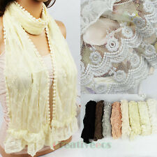Delicate Women's Embroidered Floral Lace Ruffle Mini Lace Trim Edge Scarf Shawl