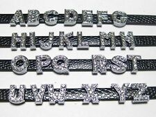 20 Rhinestone Letter Beads Slide Charm Fit 8mm Wristbands Pick Your Letter