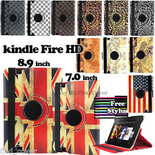 """Amazon kindle fire HD 7"""" 8.9"""" -- 360 Deg Rotating Stand Leather Case Cover"""