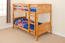 Lacquered Pine 3ft Childrens Kids Bunk Mattress Option Splits into 2 Single Beds