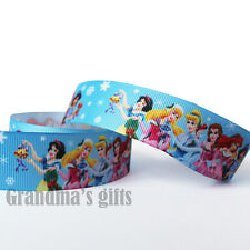 "1""25mm Disney Princess Printed Grosgrain Ribbon 5/50/100 Yards Hairbow Wholesale"