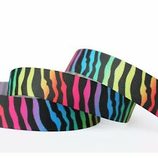 "1""25mm ZEBRA Printed Grosgrain Ribbon 5/10/50/100 Yards Hairbow Wholesale"