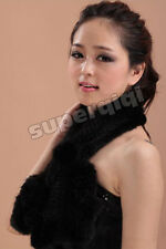 100% Real Genuine Knitted Mink Fur Stole Cape Shawl Scarf Wrap Coat Womens Black