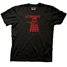 NEW Black Doctor Who T-Shirt ALL SIZES Dalek Exterminate Mens Dr BBC TV Show Tee