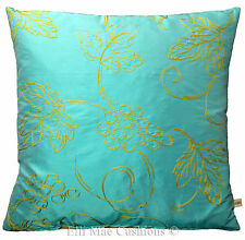 Designers Guild Chittogarh Blue Silk Gold Embroidered Cushion Pillow Cover